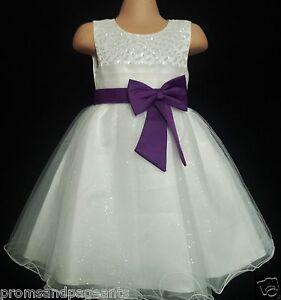 Cadbury Purple Ivory Flower Girl Bridesmaid Prom Sparkly Party Dress 2-13y