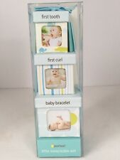 Pearhead Little Keepsake Set Baby Boxes First Tooth Curl Bracelet Blue New