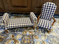 Rare  Tender The Art Collection Furniture DOLL SIDE CHAIR & COACH blue gingham