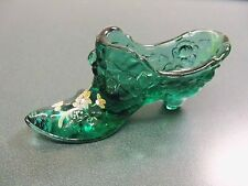 Fenton Green Painted Shoe w/ Raised Rose Design - Yellow White Glitter Item 1280