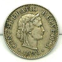 SWITZERLAND 1920 B 5 Rappen  KM#26 Copper/ Nickel.