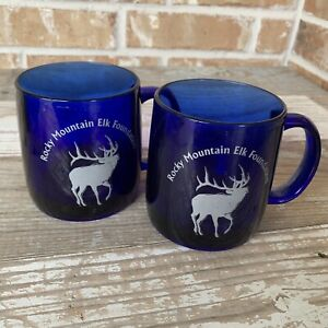 Pair Rocky Mountain Elk Foundation Logo Coffee Mug Cup Cobalt Blue Glass 12oz