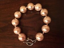 Monet Chunky Faux Pearl Knotted Ball Bracelet with T-bar Closure 7 inch