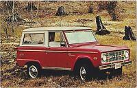 1970 Ford Bronco Red/White Original Vintage Dealer Promotional Postcard UNUSED ^