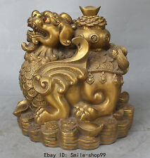 "10"" China Bronze Wealth Yuanbao Money Treasure Bowl PiXiu Pi Xiu kylin Statue"