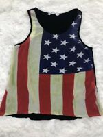 Flag Racerback Tank Top 5th & Love Sz S Red Blue Green Semi Sheer Front Womens