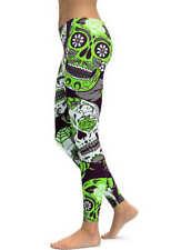 Sugar Skull Leggings! One Size GREEN Day Of The Dead - Cinco De Mayo Rockabilly