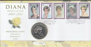Timbre Numismatique Grande-Bretagne Princesse Diana 5 Livres 1997