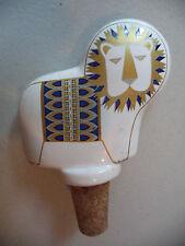 Vintage Mid Century Modern MCM Ceramic Gold Gilt Lion&Horse Wine Bottle Stopper!