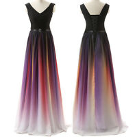 Long Chiffon Rainbow Evening Formal Party Ball Gown Prom Bridesmaid Dress 4-22