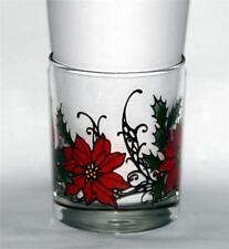 4 VTG Libbey Red Poinsettia DOF Lowball Glass Tumblers Bright Colorful EXC USA