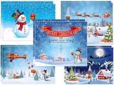 Weihnachtskarten-Set (10 St.) SCHNEEMÄNNER - 5 Schneemann-Motive x 2 St.