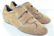 Auth Louis Vuitton Stadium LV Brown Suede Leather Strap Sneakers US 10 EU 43