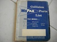 NOS MOPAR 1962 COLLISION PARTS LIST BOOK PLY-DOD-DES-CHRY-IMP-DART