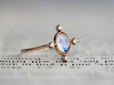 14k Rainbow Moonstone Diamond Ring, Star Ring, Starburst Ring, Statement SJR0073