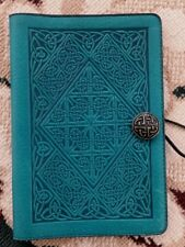 "Oberon Design Leather Book Journal Cover 6 x 9 "" Vintage Celtic Diamond in Teal"