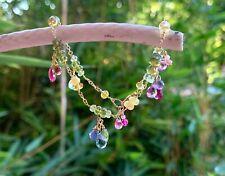 "multi gemstone bracelet elegant colorful linked authentic gems real 18k gold 7"""