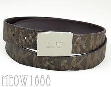 New Michael Kors Men Brown Signature Logo 33mm Width Reversible PVC Belt $128