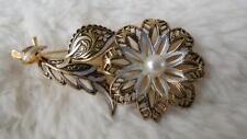 Vintage Gold Plated Enamel Faux Pearl Damascene Toledo Flower Brooch