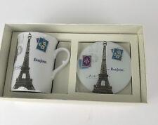 NIB Fringe MUG & COASTER EIFFEL SET  Paris Porcelain Coffee Mug