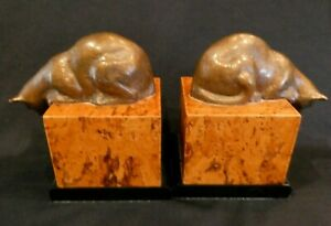 Pair of Antique Vintage Art Deco Cat Bookends in style of Louis Riche Bronze