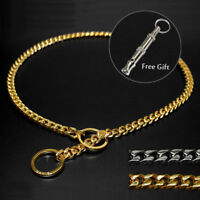 Snake Chain Dog Show Collar Stainless Steel P Choke for Dog Training Gold Sliver