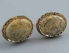 Fossil Agate Costume Jewelry O68 Mens Vintage Cufflinks Prong Set Natural