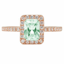 1.85ct Emerald Light Sea Green Promise Bridal Wedding Classic Ring 14k Rose Gold