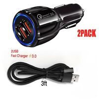 Dual USB 3.1A 12V Car Adapter 3.0 Fast Charging+Lightning Cable Cord For iPhones