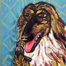Afghan Hound print on tile - ceramic coaster - modern dog art - folk art 6x6