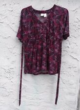 DUO Maternity Purple Black Print Short Sleeve Stretch Top Blouse Shirt Size Med