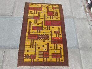 Kilim Vintage Traditional Hand Made European Yellow Wool Small Kilim 120x97cm
