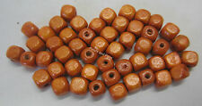 50 Wooden Beads 6mm Cube Wood Bead Light Tan Orange For Beading & Craft WB604