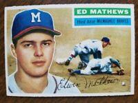 1956 TOPPS ED MATHEWS #107 EX/NM W/WRINKLE HOF BRAVES WHITE BACK