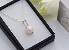 925 SILVER NECKLACE MADE WITH SWAROVSKI PEARL 12MM -  PEARLESCENT WHITE