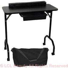 New Black Portable Manicure Nail Table Station Desk Spa Beauty Salon Equipment