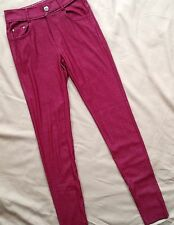 Yalete Women's Leggings Jeggings Size Small Red Burgundy Pockets Knit Stretch