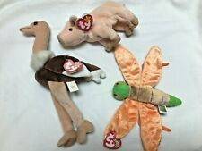 VINTAGE TY Beanie Stretch the Ostrich, Knuckles Pig, Glow firefly