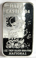 HAPPY EASTER EGG 1984 BABY CHICK .999 FINE SILVER ART BAR 1 TROY OZ