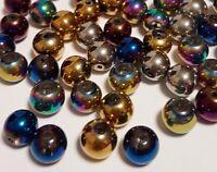 55 Galvanisierte Glasperlen Kristallschliffperlen 6mm Bunte Mix Perlen Rund R43