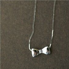 "Bowknot Bow Tie Shining Sterling Silver Necklace 16"" 17"" H646"