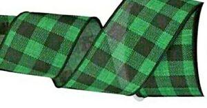 "1 metre 63mm (2.5"") EMERALD GREEN/BLACK BUFFALO PLAID CHECK WIRED EDGE RIBBON"