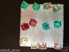 The Cube Swarovski Crystal Size L Handmade Stud Earrings Mix Colors 6 Pairs A13