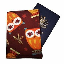 PASSPORT COVER/FOLDER/WALLET - NIGHT OWLS BROWN crafted by Graggie Australia*GA