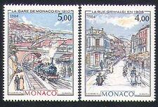 Monaco 1984 Trains/Transport/Steam/Art/Railway/Rail/Station 2v set (n32628)