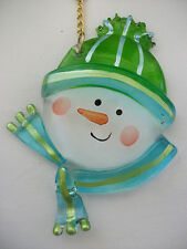 """SNOWMAN HEAD THICK GLASS CHRISTMAS HOLIDAY ORNAMENT ~ 3"""" x 4"""" ~ NEW"""