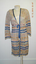MISSONI BLUE CORAL GREEN CARDIGAN DRESS LONG SLEEVE WOMENS SIZE 8 MADE IN ITALY