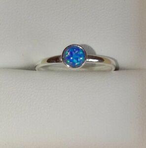 GENUINE Sterling Silver Dark Blue Fire Opal Ring Size M
