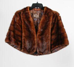 Vintage H. Liebes SF Brown Women's Luxury Mink Shawl Collar Fur Wrap