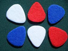 Ukulele Felt Plectrums in Red White and Blue (6x uke picks) UK seller
